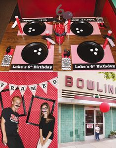 Bowling Party Ideas: black paper plates with 3 white vinyl (Contact paper) circles for holes