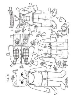 Cat paper dolls - I would suggest printing this off on white cardstock to make it sturdier when cut out. Paper Puppets, Paper Toys, Cat Coloring Page, Coloring Book Pages, Detailed Coloring Pages, Puppet Crafts, Paper Animals, Childrens Christmas, Doll Painting