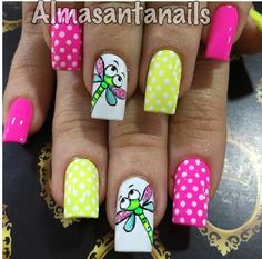 Lindas libelulas Gorgeous Nails, Love Nails, Fun Nails, Pretty Nails, Funky Nail Art, Easy Nail Art, Ladybug Nails, Nails For Kids, Yellow Nails