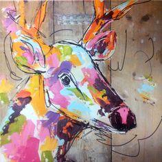 schilderij hert steigerhout 60 x 60 cm
