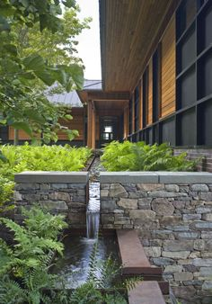 Contemporary landscape design and architecture Modern Landscaping, Backyard Landscaping, Landscape Architecture, Landscape Design, Architecture Design, Dream Garden, Home And Garden, Water Features In The Garden, Contemporary Landscape