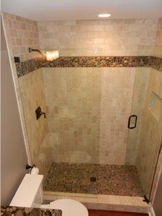 "MAT Sales Rep: John Wanner Contractor: Gallery Design, Naperville Tile: Adesso 3x6""  6x6"" Tumbled Berkshire Crema Mosaic: Florida Tile Pietra Pebbles color Mixed Salad 12x12""  6x12"" Shower Unit: Wedi"