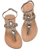 Jeweled Flat Sandals by Mystique | Genuine Leather Flat Jeweled Sandal