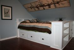 Built in bed - I like the storage areas on this bed...teenage boy