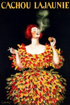 CACHOU LAJAUNIE SMOKING WOMAN FRESH BREATH FRENCH CAPPIELLO VINTAGE POSTER REPRO #Vintage