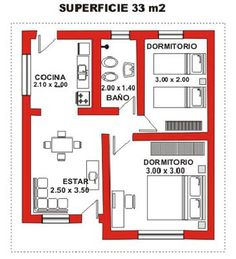 planos casas 3 ambientes - Buscar con Google                                                                                                                                                      Más