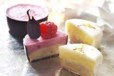 Konfektkager med hindbær og citroncreme