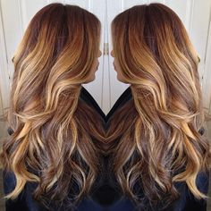 dark brown to chocolate dark brown to balayaged light golden blonde highlites.