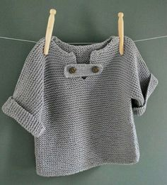 Discover thousands of images about Resultado de imagem para tricot knit baby Baby Knitting Patterns, Knitting For Kids, Crochet For Kids, Baby Patterns, Free Knitting, Crochet Baby, Knit Crochet, Baby Pullover Muster, Baby Cardigan