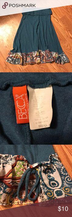 Becca Skirt Super fun skirt with ruffled hem! Boho feel in GUC! Multicolored ruffle on deep aqua blue skirt. BECCA Skirts Midi