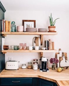 A chic kitchen renovation featuring open shelving and a farmhouse sink via Jess . A chic kitchen renovation featuring open shelving and a farmhouse sink via Jess Ann Kirby Always wanted to discover how . Kitchen Shelf Inspiration, Home Decor Inspiration, Decor Ideas, Decorating Ideas, Fun Ideas, Interior Decorating, Kitchen Interior, Kitchen Decor, Kitchen Furniture