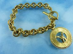 Signed Hobe Chunky Link Golden Bracelet With