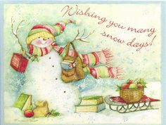 Wishing You Many Snowy Days...Merry Christmas by VeryHappyHomemaker-Angee at Postcrossing, via Flickr