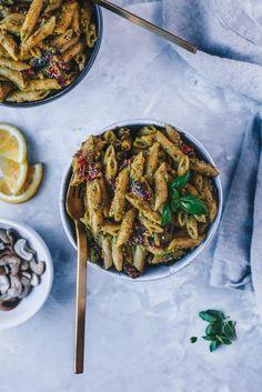 vegan cashew pesto chickpea pasta with sundried tomatoes