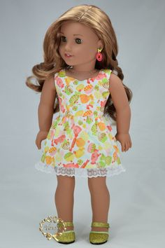 "American girl doll clothes "" Summer Dress with Ribbon Belt """