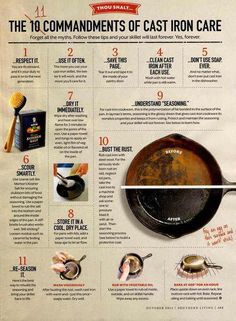 Cast Iron care tips. 11 easy to use tips for taking care of your cast iron pan. Iron Skillet Recipes, Cast Iron Recipes, Clean Cast Iron Skillet, Cast Iron Dutch Oven, Season Cast Iron Skillet, Cast Iron Steak, How To Clean Skillet, Chicken Cast Iron Skillet, Skillet Food