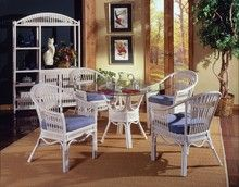 South Sea Rattan Bermuda Indoor Dining Room Set With Captains Chairs Indoor Rattan Furniture, Tropical Furniture, Tropical Home Decor, Modern Outdoor Furniture, Colorful Furniture, Living Room Furniture, Cane Furniture, Wicker Dining Set, Dining Room Sets