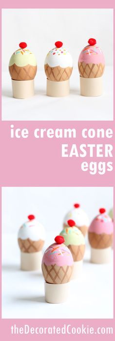 DIY ice cream cone Easter eggs! These no-dye Easter eggs make a fun spring craft project!