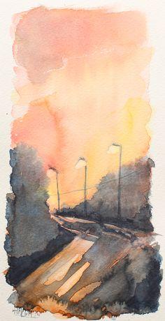 Postales de acuarela - Una tarde cualquiera en el barrio. Watercolor Postcards - An ordinary afternoon in the neighborhood. HMZEN'14