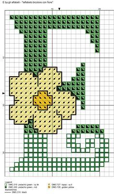 alfabeto bicolore con fiore: E