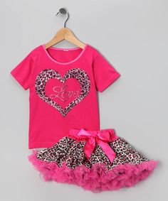 Take a look at this Fuchsia Cheetah Heart Tee & Pettiskirt - Infant, Toddler & Girls by Blow-Out on #zulily today! #fall
