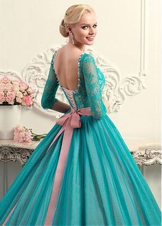 Glamorous Tulle & Lace Scoop Neckline Ball Gown Wedding Dress