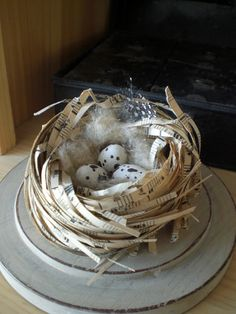 Hello my dear friends, I have tried to be busy these past few days and it seems that paper just captures me at the moment. This is what I ma. Bird Nest Craft, Bird Crafts, Nature Crafts, Easter Crafts, Bird Nests, Book Page Crafts, Book Projects, Book Pages, Spring Crafts