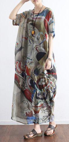 new 2017  linen dresses casual plus size sundress short sleeve maxi dress