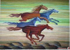 "Gallery.ru / Гобелен ""Лошади"" - Решетиловские ковры и гобелены - Olgica"