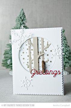 Stylish Snowflakes Die-namics, Solid Birch Trees Die-namics, Peaceful Words Die-namics, Starry Circle Die-namics - Keisha Campbell  #mftstamps