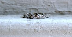 Vintage Platinum Diamond Scalloped Eternity Wedding Band - 0.36ct.