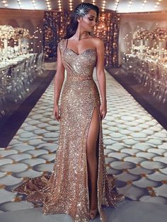 dfed97638d81 A-Line One Shoulder Sleeveless Gold Sweep Train Prom Dress with Rhinestone