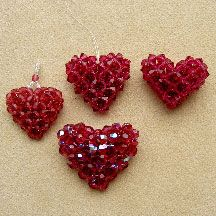 "Crystal ""Puffy Heart"" Beading Pattern by Chris Prussing at Bead-Patterns.com"