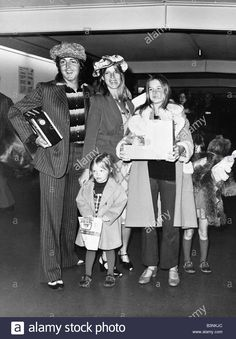 Paul MaCartney and wife Linda with their family arrived at Heathrow Airport from Los Angeles. April 1975