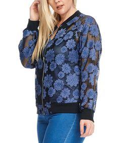 Black & Blue Mesh Floral Jacket - Plus
