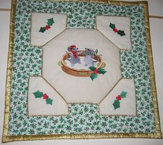 Christmas Spirit Wall Hangings made with Embroidered quilt block, Holly embroidery works so well with the fabric. Really lovely Margaret.