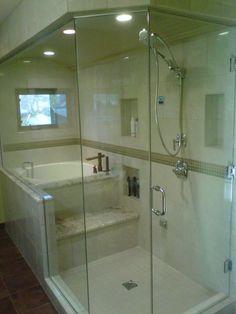 Traditional Master Bathroom with Handheld showerhead, Casement, drop in bathtub, Bathtub, Wall Tiles, framed showerdoor
