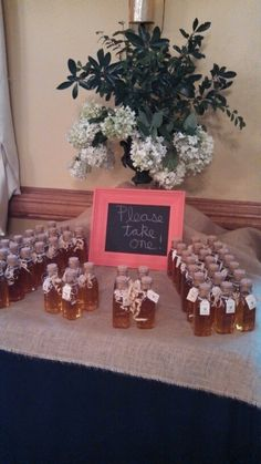 Honey wedding favors. I used an old picture from a thrift store and painted it with chalk board paint.