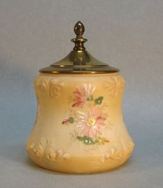 Victorian Decorated Glass Biscuit Jar. ca. 1890  -  I have the bottom part, need a top!