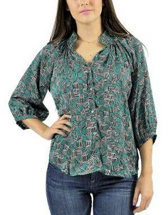 (CLICK IMAGE TWICE FOR DETAILS AND PRICING) Printed Zeyna Blouse Emerald. For work, use it with pants or skirts topped with a blazer, then transition it to the weekend by pairing it with jeans, flats and oversized sunnies.. See More Tops at http://www.ourgreatshop.com/Tops-C74.aspx