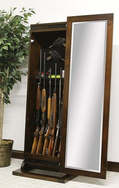 Shaker Rifle Leaner Mirror | 5 Unique Ways To Store Your Rifles, Guns, And  · Hardwood FurnitureAmish ...