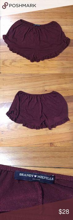Brandy Melville Flowy Shorts Brandy Melville Burgundy Flowy Shorts! Brand new, never worn! Super soft and versatile Brandy Melville Shorts