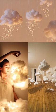 "DIY Lampen Wolken aus Watte Fotografie Idee Porträt Foto Hack Inspiration boy first"" girl names nursery stuff Diwali, Diy Bebe, Pinterest Diy, Light Art, Diy Room Decor, Wedding Decorations, Wedding Ideas, Prom Decor, Party Wedding"