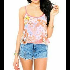 Sheer floral top Brand new,  fun floral tank top Tops Tank Tops