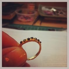 18ct yellow gold and black diamond ring by tessa blazey