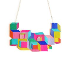Neon Leather Bib Necklace, Cube Geometric Necklace, Escher Squares, Rainbow Jewelry | $78 Boo and Boo Factory - Handmade Leather Jewelry