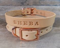 "Leather Dog Collar, 3/4"" Wide Off White, Rose Gold Copper Buckle, Dog Collar with FREE Name, Pick Your Font"