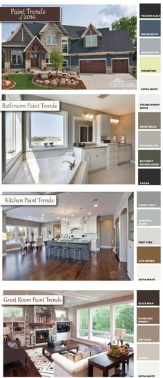Colors and materials have a great impact on creating a home that is both beautiful and expressive of who you are and how you want your home to look and feel. To help, we put together a few of our favorite kitchen, bath, great room, and exterior paint color palettes and combinations for 2016! - Creek Hill Custom Homes MN
