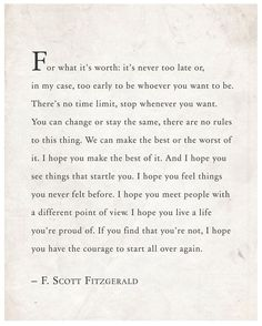 F. Scott Fitzgerald Quote For What It's Worth by Riverwaystudios