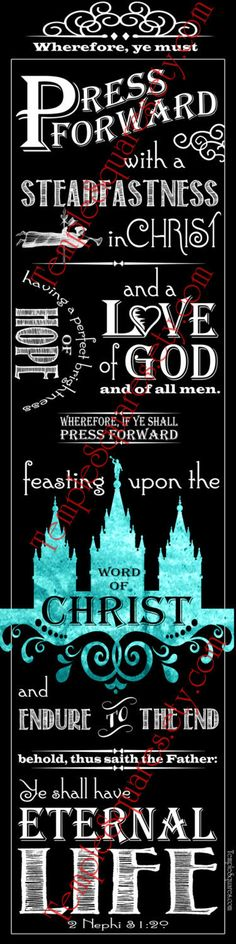 """PRINTABLES Bookmarks LDS YW Young Women 2016 Theme Chalkboard style """"Press Forward with a Steadfastness in Christ"""" 2 Nephi 31:20 Teal by templesquares on Etsy"""